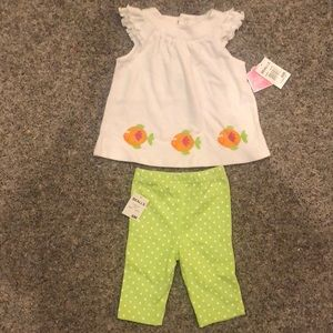 NWT outfit - girls 6 mo new summer shirt pants set